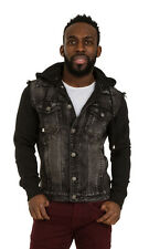 Mens Black Denim Jacket with Hood Slim Fit Jersey cotton sleeves detachable hood