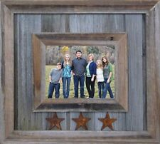 NEW RUSTIC FARMHOUSE 3 STAR RECLAIMED BARNWOOD PICTURE PHOTO CANVAS FRAME DECOR