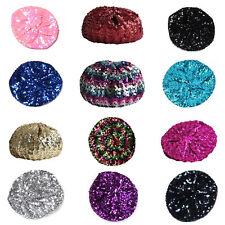 Ladies Girls Sequins Beret Hat Beanies Costume Party Dance Disco Show One Size