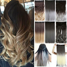 1Pcs/8Pcs Full Head Clip in Long Hair Extensions Remy Ombre Dip Dye Hair kc719