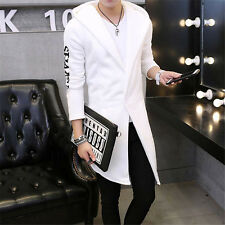 Stylish Men's Coat Casual Trench Coat Print Slim Thicken Outwear Long Jacket NEW
