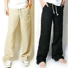 Fashion New Mens Casual Loose Drawstring Waist Solid Linen Trousers Beach Pants.