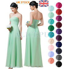 UK Stock Formal Chiffon Bridesmaid Dress Long Sweetheart Evening Party Prom Gown