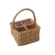 wicker cutlery condiment basket with 4 sections for storage natural wine hamper