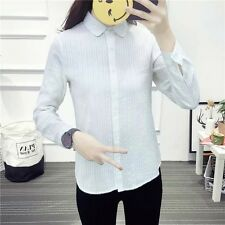 New Womens Girl Chic White Long Sleeve Lapel Button Down Shirt Blouse Tops SML