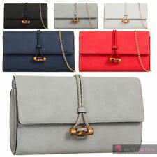 LADIES NEW TOGGLE CLOSURE DETAIL FAUX LEATHER CHAIN STRAP CLUTCH HAND BAG PURSE