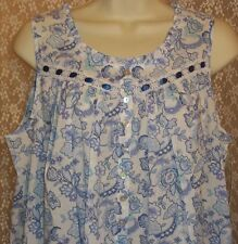 NWT EILEEN WEST S SMALL NIGHTGOWN LONG COTTON LAWN SLEEVELESS GOWN Blue Paisley