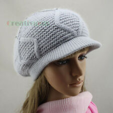 Women's Brim Visor Beanie Cap Rhinestone Striped Rabbit Fur Wool Knit Hat Angora