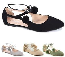 Ladies Women Flat Lace Up Pom Pom Slip on Casual Gladiator Ballet Pumps Shoes