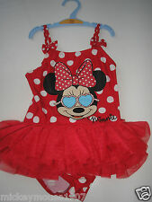 BRAND NEW GIRLS DISNEY MINNIE MOUSE SWIMMING COSTUME AGE 2/3 YEARS & GLASSES