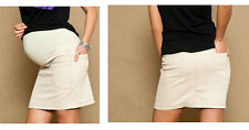 BEIGE CLASSIC PREGNANCY MATERNITY DENIM SKIRT WITH BELLY BAND AND POCKETS