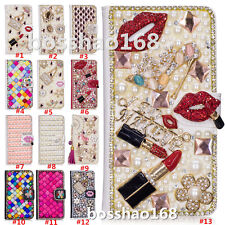 Magnetic Bling Luxury Diamonds Crystal PU Leather wallet flip Slots Cover Case R