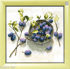 EMBROIDERY KIT COUNTED CROSS STITCH KIT CRYSTAL ART PLUM AROMA FRUITS BT-144