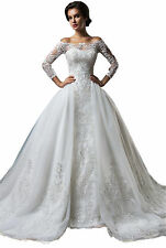 New Sexy White/Ivory Long Trailing Lace Wedding dress Bridal Gown Custom Size