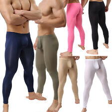 Mens Smooth Long Johns Bulge Pouch Tight Fit Pants Slip Underpants Underwear Hot