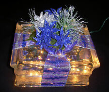 Amazing Christmas Poinsettia & Pinecone Center Glass Block Light - Great Gift!