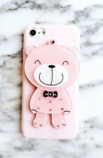 New Lovely 3D Cartoon Pink Bear Silicon Case With a Mirror Cute Cover For iPhone