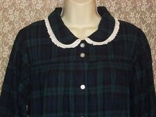 Lanz of Salzburg M Cotton Flannel Nightgown LONG Forest Green Navy Blue NWT $68