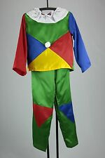 Clown Costume Child 4 Pc Multi-Colored Poly satin Pants Top Wig & Nose Costume