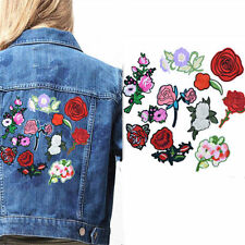 Embroidered Sew Iron on Patch Badge Rose Flower Hat Bag Fabric Clothes Applique