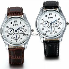 Fashion Mens Quartz Leather Band Round Dial Stainless Steel Analog Wrist Watch