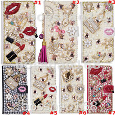 Magnetic Bling Luxury Diamonds Crystal PU Leather wallet flip Stand Cover Case D