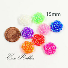 15mm 16pcs Faux Rhinestone Flower Rose AB Color Flatback Resin Cabochons C03