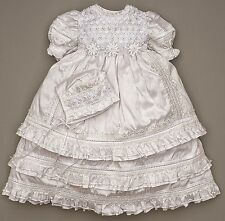 Hand Embroidered Christening gown for girl (baptism dress G004)