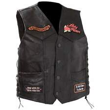 Black Leather Ladies Motorcycle Vest - Womens Biker Vest with 9 Patches - Laced
