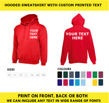 Custom Personalised Printed Hoodie WorkWear Pull Over Comfort Hooded Sweatshirt