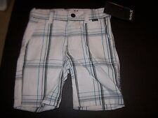 NEW Hurley white plaid adjustable tabs chino shorts baby toddler boy sz 2T 3T