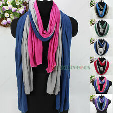 Fashion Women's 3-Tone Stitching Oversize Oblong Shawl Scarf/Infinity Scarf New