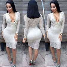 Womens Sexy Dress Long Sleeve Lace Bandage Bodycon Evening Party Cocktail Dress