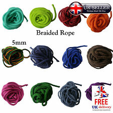 CORD 5mm Braided Rope Polyester Many Colour Size Color Craft Decor Sewing Trim
