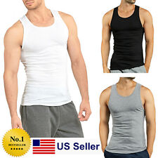 Lot 3 6 9 12 Mens New Wife Beater A-shirt Undershirt Ribbed Tank Top 100%COTTON