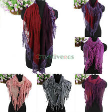 Women's Vintage Embroidered Flowers Pattern Lace Net With Tassel Long Scarf New