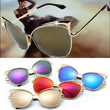Womens Oversized Cat Eye Fashion HOT Retrol Lens Mirror Metal Frame Sunglasses J