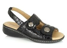 Lotus Burr Womens Black Croco Leather Riptape Fastening Open Toe New Sandals