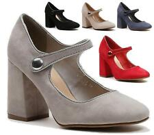 NEW LADIES BLOCK HIGH HEEL COURT SHOES MARY JANE FAUX SUEDE FORMAL OFFICE SIZE