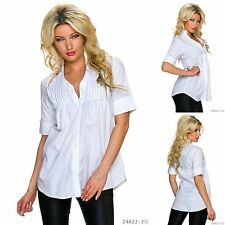 New FORMAL White PINTUCK Short Sleeve SHIRT Blouse TOP UK 10 and 14 Work Office
