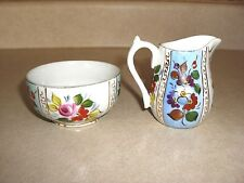 CREAMER & SUGAR, HAND PAINTED CHINA, ROSE FLORAL, GOLD GILDING, ENGLAND, c1920's
