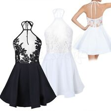 Fashion Women's Backless Club Mini Dress Ladies Lace See-Through Party Dresses