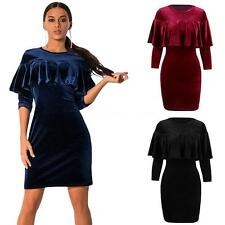 Womens Ladies Velvet Evening Party Cocktail Ruffle Mini Bodycon Slim Dress R6S5