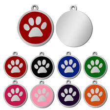 Round Paw Print Pet Cat Dog Tags Engraved Puppy ID Name Collar Tags Wholesale