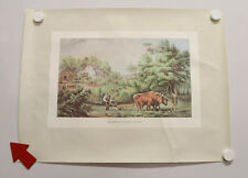 4 George H Durrie Prints HOME THANKSGIVING New England FARM SCENE Winter Country