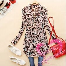 Women's Tops Long Sleeve Shirt Slim Leopard Casual Shirts Pullover Blouses NEW