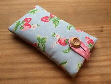 iPhone 7 / 7 Plus Padded Case Made With Cath Kidston Mini Strawberry Blue Fabric