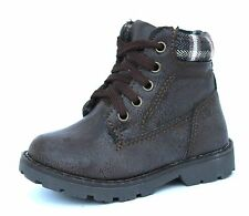 Infant Kids UK 5 & 7 Brown Leather Look Lace & Zip Up New Emery Ankle Boots
