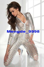 Sexy Silver Shiny Lycra Metallic Suit Catsuit Costumes Sexy Body Suit U324