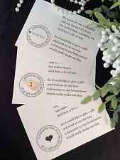 PERSONALISED WEDDING GIFT ASKING MONEY CASH SMALL POEM CARDS FOR INVITATIONS